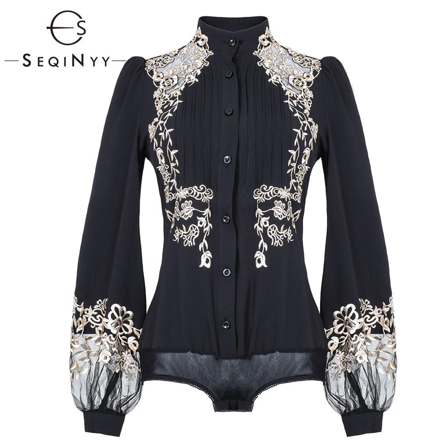 SEQINYY Embroidery Shirt 2019 Spring Summer Woman's New Vintage Black Lantern Sleeve Pleated Elegant Luxurious Slim Shirt