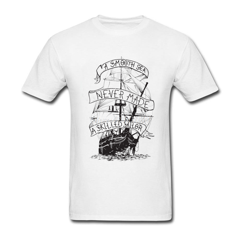 2017 New Pirate Ship T Shirt Street Wear T Shirt Men O-neck Cotton Big Size Short Sleeve ...
