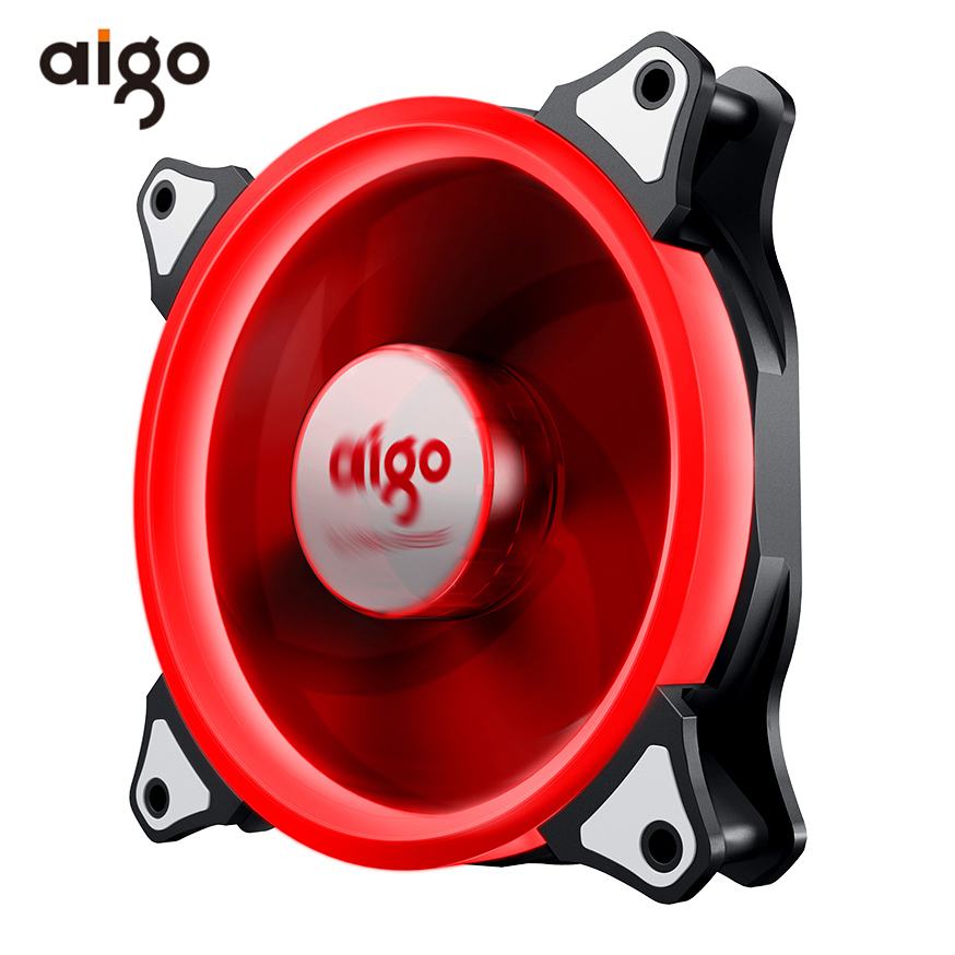 Aigo LED Case Fan 140mm Fans Silent Sleeve Bearing 12V 3pin+4pin Desktop PC Fan Computer Cooling Cooler CPU Coolers Radiators networking cables