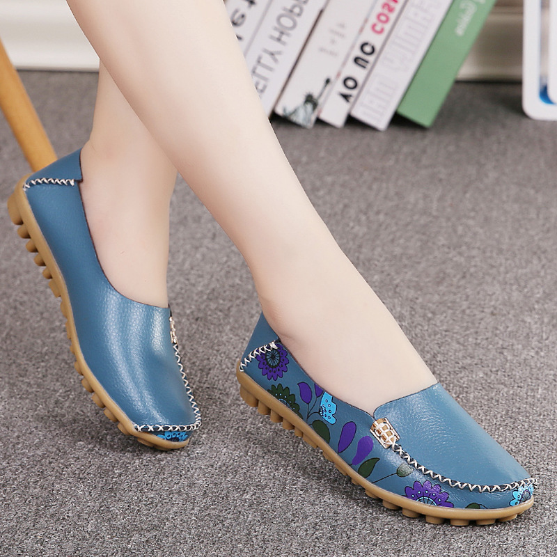 2019 Spring Women Flats Genuine Leather Shoes Slip On Ballet Flats Ballerines Flats Woman Shoes Moccasins Loafers Shoes 170