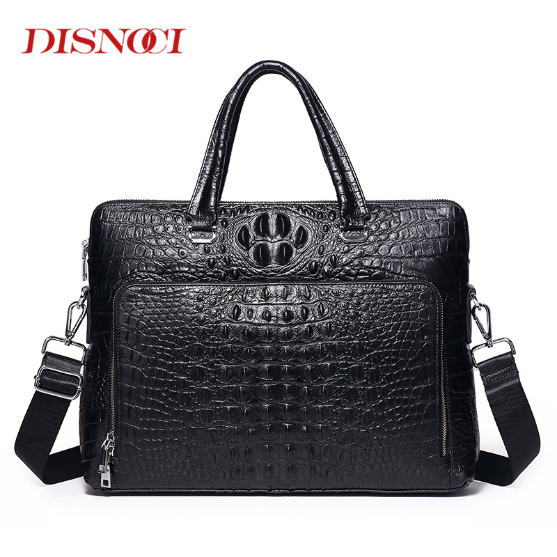 Fashion Men Handbags Cowhide Crocodile Pattern Briefcase Men's Shoulder Messenger Bag Genuine Leather Business 14