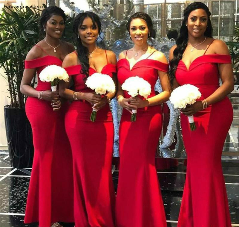 Modest Red   Bridesmaid     Dresses   2019 Mermaid Off Shoulder Summer Country Garden Formal Wedding Party Guest Maid of Honor Gowns