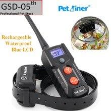 Petrainer pet кинологический воротник аккумуляторная водонепроницаемый собака электронных шок воротник обучение синий жк-дисплей pet916