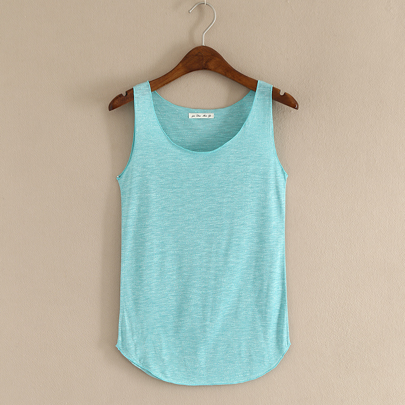 Spring summer new tank tops women sleeveless round neck for Sleeveless shirts for ladies