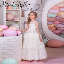 Beautiful Lace Pageant Dresses For Teens Tiered Backless Long Flower Girls Dresses Kids Wedding Party Dresses Vestido De Daminha