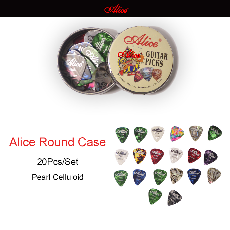 20pcs Alice Acoustic Electric Guitar Picks Plectrums + 1 Round Metal Picks Box Case Free Shipping