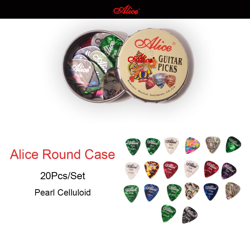 20pcs Alice Acoustic Electric Guitar Picks Plectrums + 1 Round Metal Picks Box Case Free Shipping
