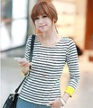 New Design Women Stripe T-shirt Thicken Loose Cotton Knitting Long sleeve