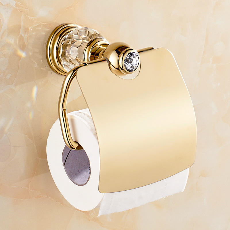Crystal Antique Brass Tissue Box Roll Holder European Gold Polished Toilet Paper Holder Bathroom Products Accessories te50