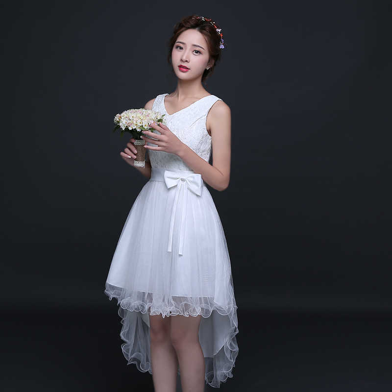 Sweet Memory White bridesmaid dress with bow for wedding party prom  performance a9ea3817a744