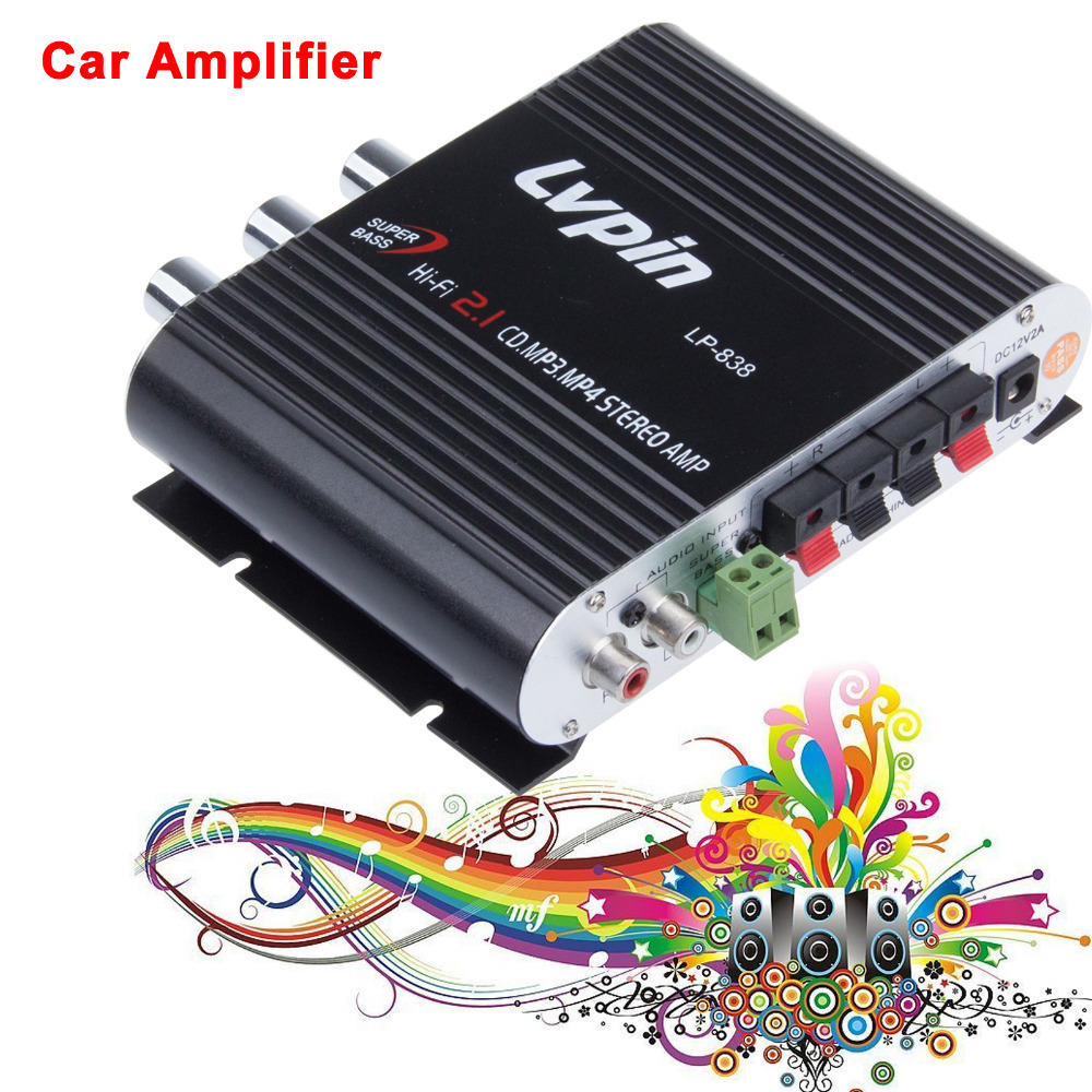 High Quality Black/Silver New 2.1 3 Channel Stereo Mini Computer Audio Amplifier Subwoofer Out Amplifiers Lepai LP-838 Amplifier
