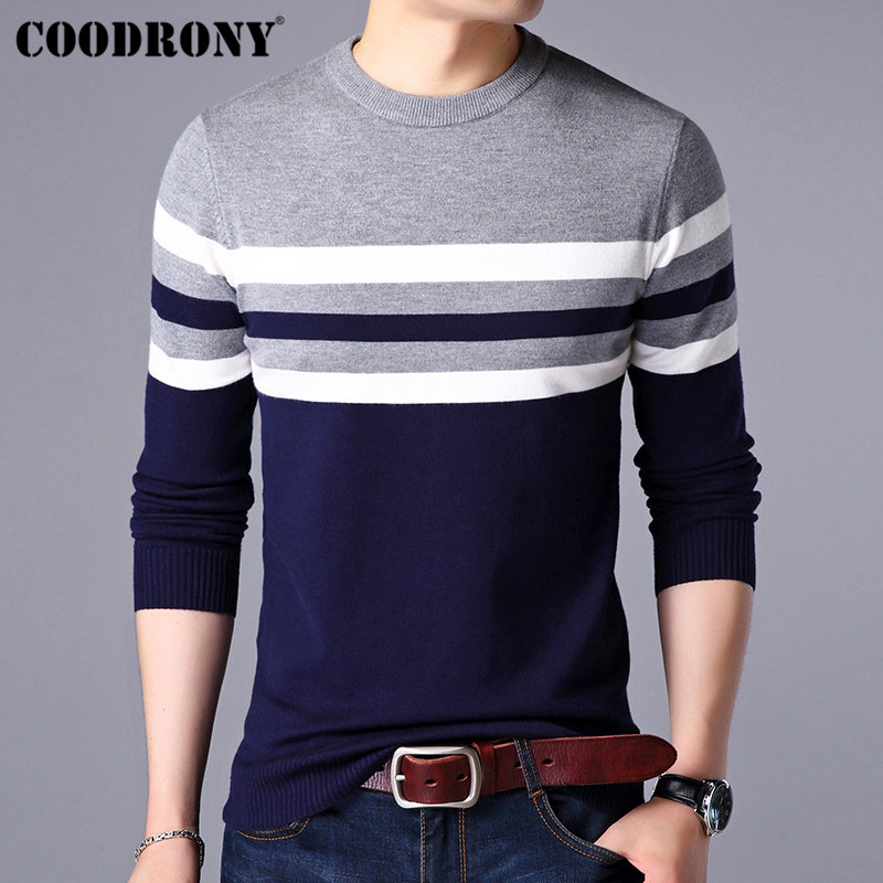 COODRONY Sweater Dress Winter Pull O-Neck Homme Striped Casual Cotton H014