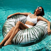 115cm Tropical Palm Tube Float Giant Rainbow Trip Inflatable Swimming Ring Starry Eyed Pool Floating Water Party Toy