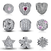 100 Authentic 925 Sterling Silver Dazzling Clear CZ Charm Beads Fit Pandora Bracelet Pendants DIY Original