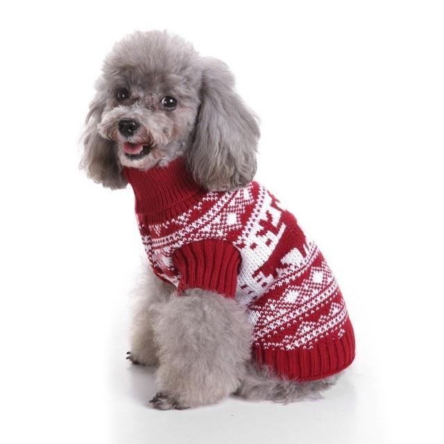 Hund Weihnachten Elch Pullover Herbst Winter Warme Stricken Häkeln
