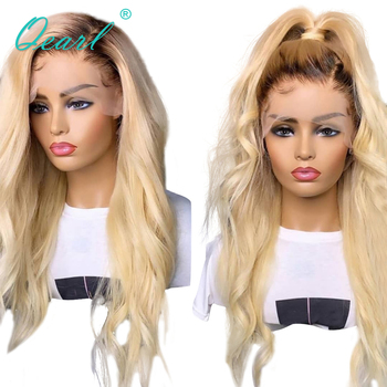 Ombre 4/613 blonde Full Lace Wig Human Hair with Baby Hairs Side Parting Pre plucked Wavy Remy Hair 130% 150% 180% Density Qearl human hair full lace wigs baby hairs brazilian wavy remy hair for women ombre brown blonde pre plucked 150