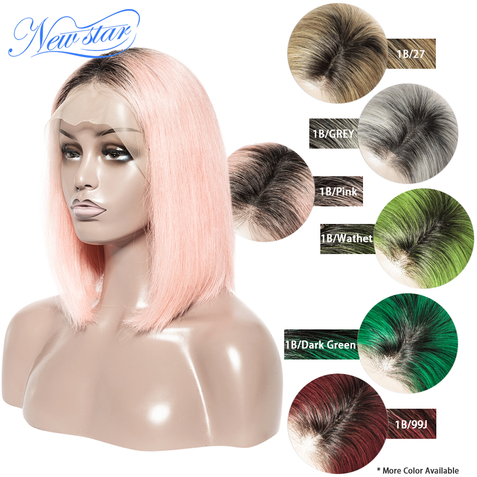 Black Root Short Bob Lace Wig Brazilian Straight Human Hair New Star Glueless Lace Front Wig 1B/ Pink/99j/Grey/Orange Ombre Wig-in Lace Front Wigs from Hair Extensions & Wigs    1