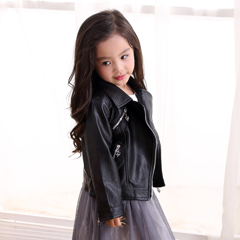 c34458aeab96 Spring Kids Clothes PU Leather Girls Jackets Children Outwear For ...