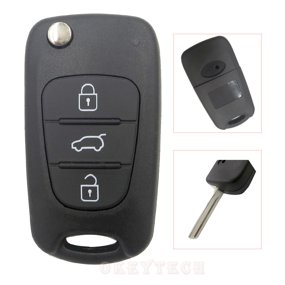 3 Button Flip key Folding car key Shell for kia sportage picanto 3 rio k2 K5 cerato ceed soul for hyundai auto key blanks Remote(China)