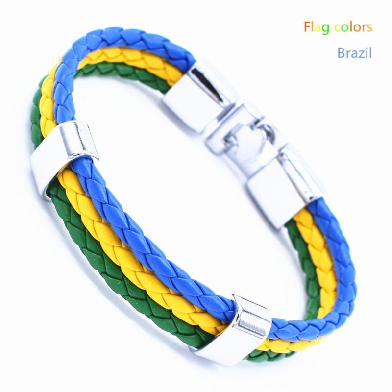 Wholesale Length 21cm 3 Strands Rope Braided Leather Chain & Link Bracelet Men Wristband National Flags Color Sports Bracelets 7