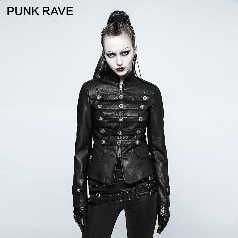 PUNK RAVE Punk Rock Women Biker Leather Short Jacket ...