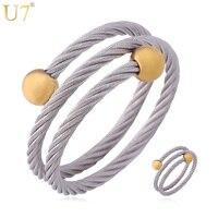Bracelet Ring Set 2014 New Trendy Unisex Women Men Jewelry Wholesale 18K Real Gold Plated 316L