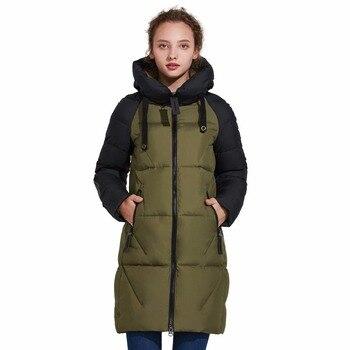 ICEbear Новинка 2017 года Для женщин зимняя куртка с капюшоном Для женщин контраст Цвет средней длины Новый Для женщин хлопковое пальто до колена...