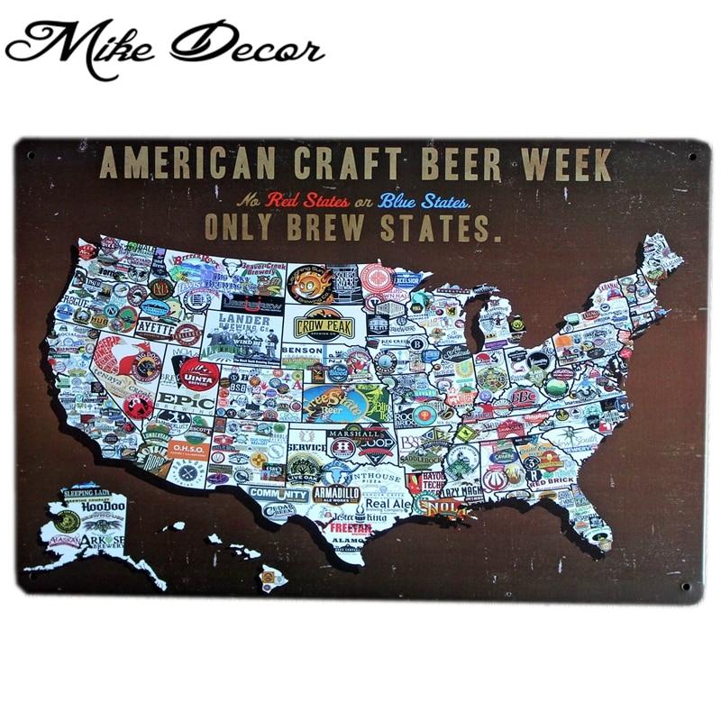 Mike86 Funny Beer Week Map Usa Metal Signs Bar Wall