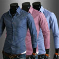 new striped shirt men business casual long sleeve turn-down collar striped men dress shirts mens clothes camisas hombre MSH012