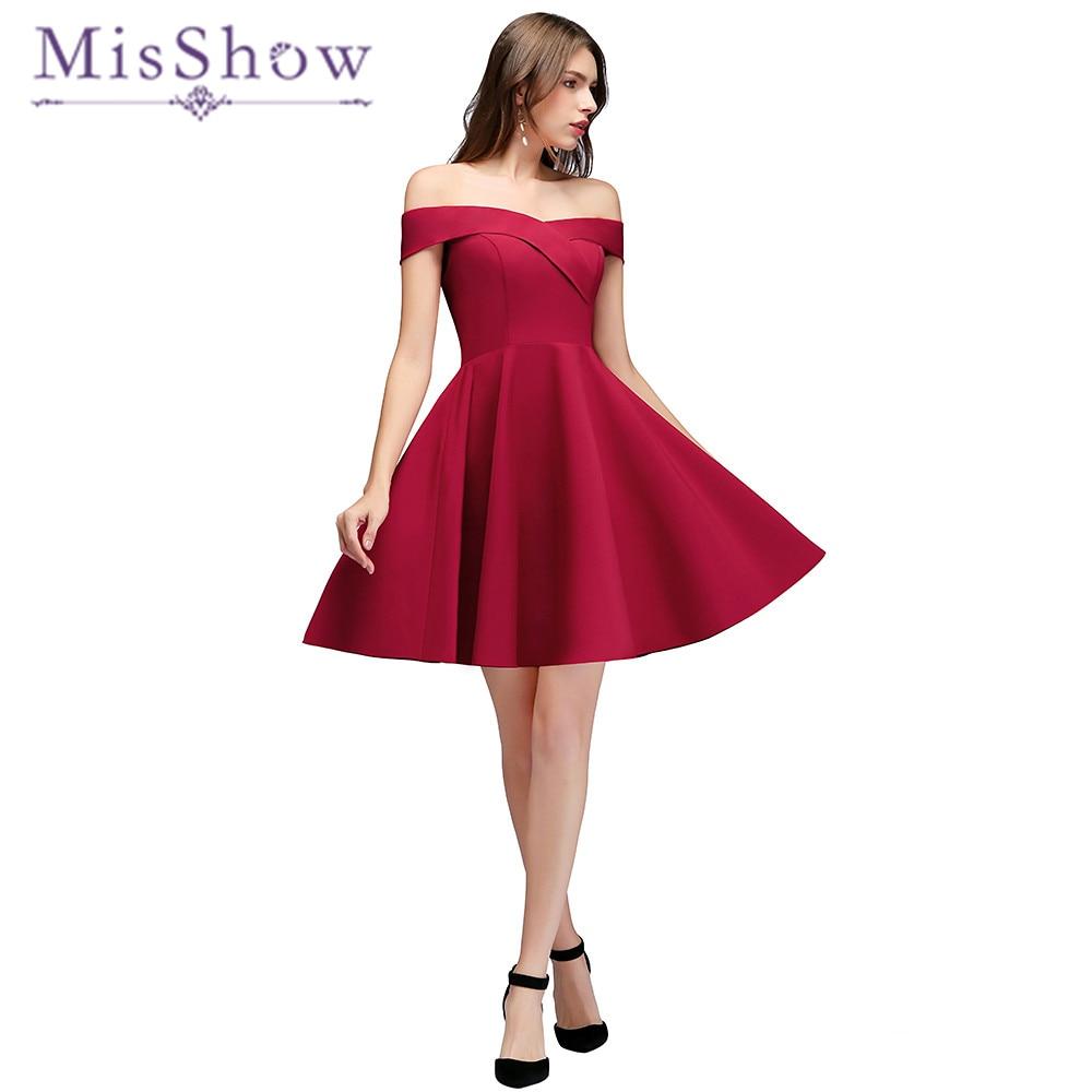 2018 New Arrival Burgundy Off the Shoulder   Bridesmaid     Dresses   Elegant Open Back Short Women Wedding Party   Dress