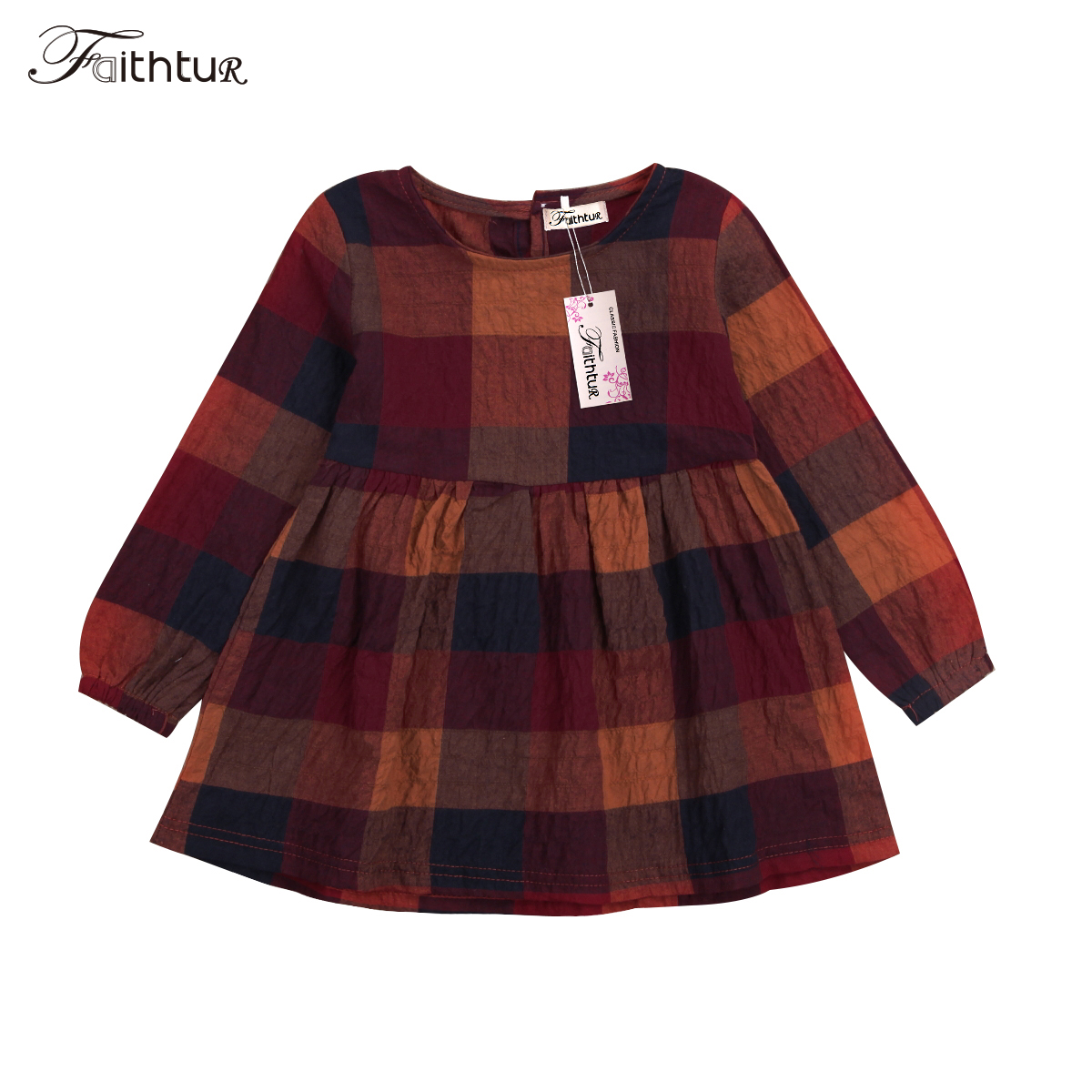 2018 new cute kid plaid dress Infant Toddler Baby Girl long sleeve Dress Princess Party Wedding Red Plaided mini dresses Clothes 2016 toddler flower girl dress winter children girl clothing autumn kid clothes brand long sleeve princess party wedding vintage
