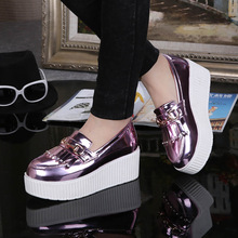 Free shipping women's autumn thick heel bright colors British style Loafers shoes