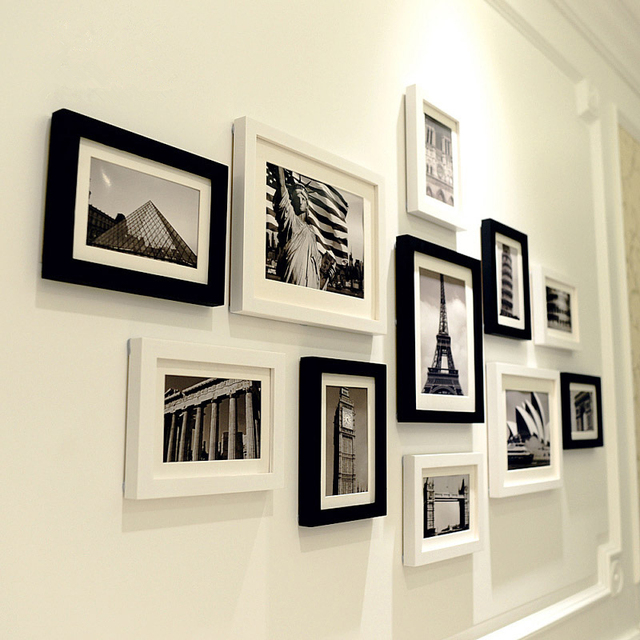 11 pcs Black & White Scenery Wall Hanging Photo Frames Set Picture Frame For Hallway Bedroom Living Room Home Decoration Brand