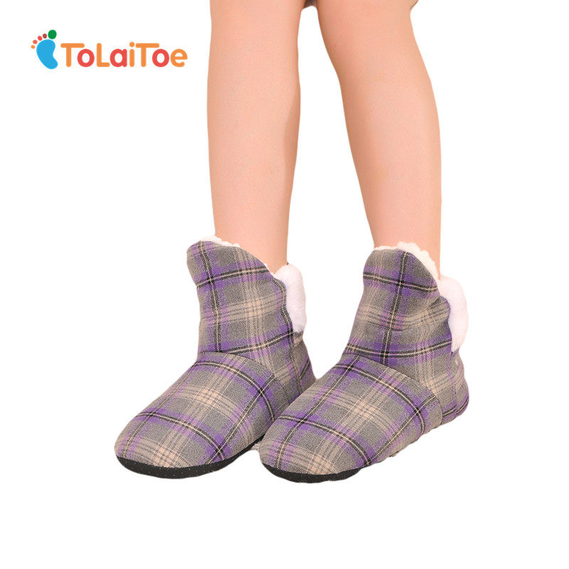 ToLaiToe Female Square Grid at Home Indoor Slippers Soft Outsole Indoor Shoes Winter Warm Cotton Padded shoe Large Size 7 Colors tolaitoe autumn winter animals fox household slippers soft soles floor with indoor slippers plush home slippers