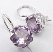 Chanti International Silver с фиолетовый аметисты Gem artisan пирсинг клетка установка Серьги 1.9 см