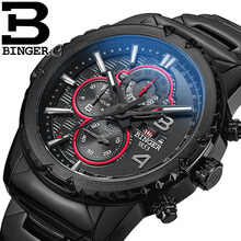 BINGER Luxury Brand Mens Stainless Steel Stop Army Watch Male Genuine Leather Sports Casual Calendar Quartz Wristwatches 6011