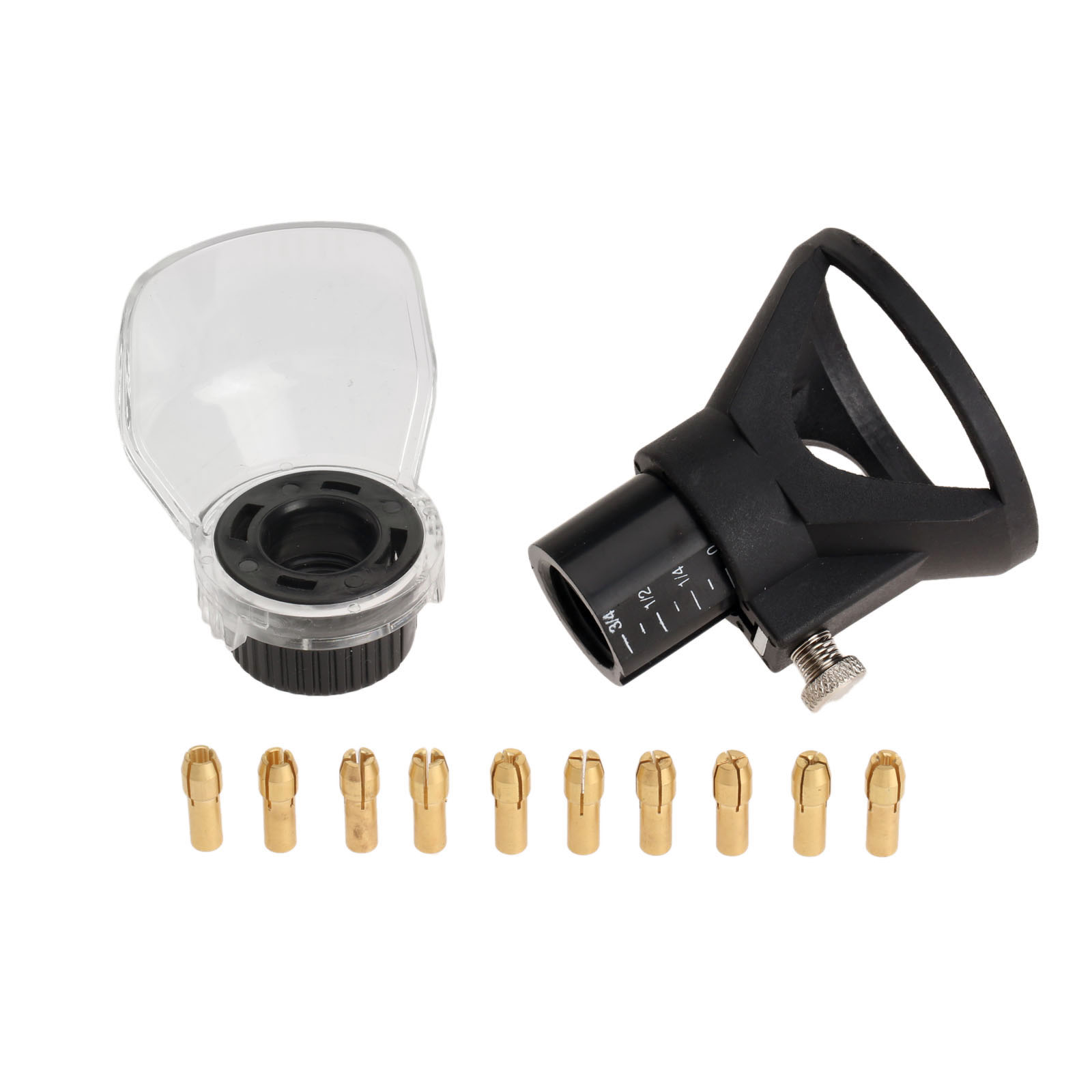12Pcs Rotary Tool Attachment Accessories Dremel Drill Dedicated Locator Horn +0.5-3.2MM Brass Collets Chuck 4.8MM Shank +Cover