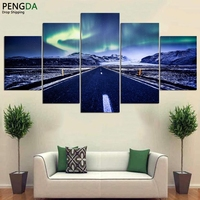Painting Print Canvas Modular Abstract Pictures Wall Art Frame 5 Pieces Aurora Highway Landscape Poster For