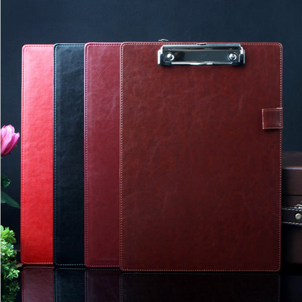 high quality red/black /wine red for you choose brand  A4 leather business clipboard with pen cap red