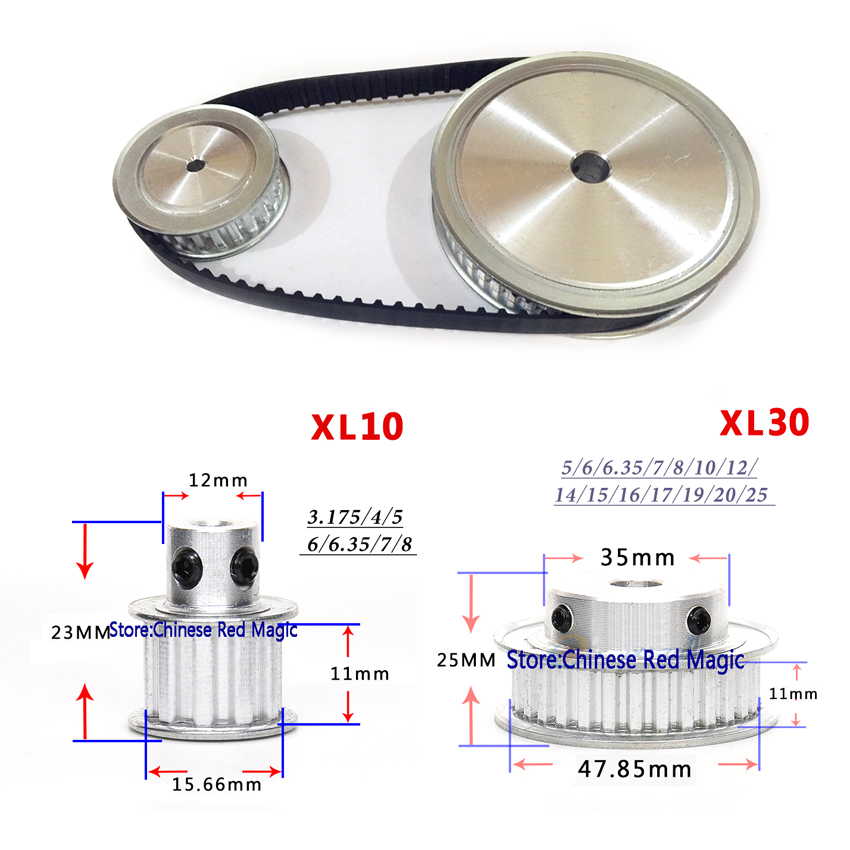 Timing Belt Pulley XL Reduction 3:1 30teeth 10teeth shaft center distance 80mm Engraving machine accessories - belt gear kit