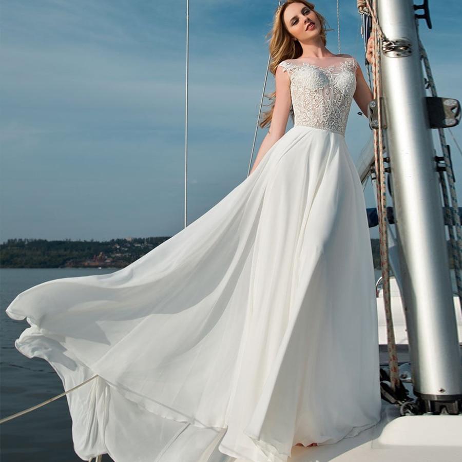 Designer Wedding Gowns Cheap: Weilinsha Chiffon Beach Boho Wedding Dresses Cap Sleeve