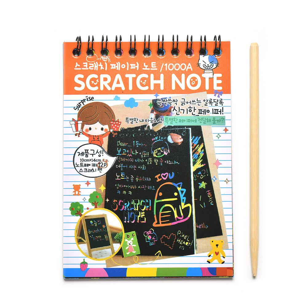 1pc DIY Scratchbook Scratch Stickers Kids Drawing Sketchbook Paper Wooden Boy's Scraping Painting Learning Educational Toys