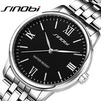 Famous Sinobi Brand Men Business Watches Waterproof Relogio Male Sport Quartz Watch Fashion Black Silver Wristwatch