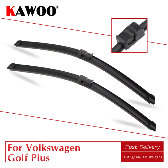 """KAWOO For Volkswagen Golf Plus 28""""28""""R Car Soft Natural Rubber Windcreen Wipers Blades 2005 2006 2007 2008 2009 Fit Side Pin Arm"""
