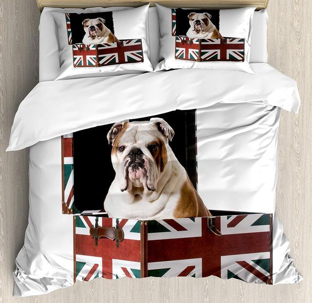 Buldog Angielski Kołdra Pokrywa Zestaw śliczne Bulldog Siedzi W