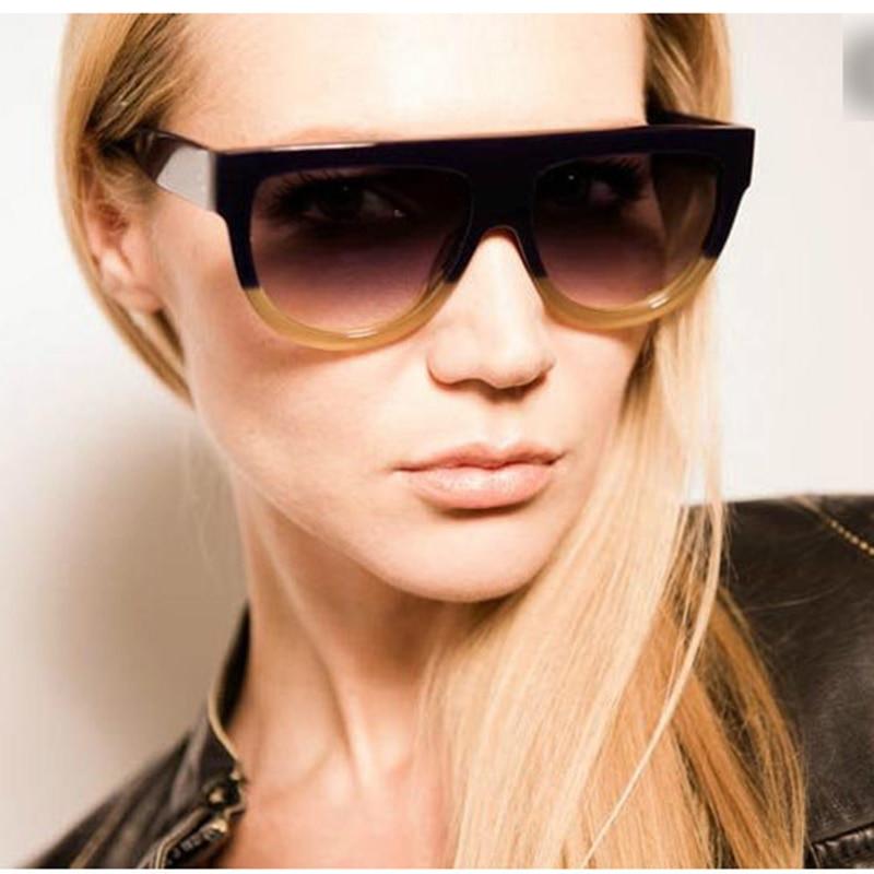 033102e51b0 Flat Top Shadow Brand Designer Fashion Celebrity Women Sunglasses Sun  Glasses Shield Lady Female Superstar Oversize Shades -in Sunglasses from  Apparel ...