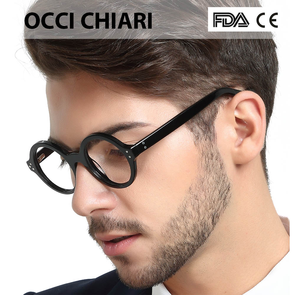 Image 2 - OCCI CHIARI Retro Round Frame Brand Design Prescription Nerd Lens Medical Optical Glasses Frame black for Men Wome CAPPAI-in Men's Eyewear Frames from Apparel Accessories