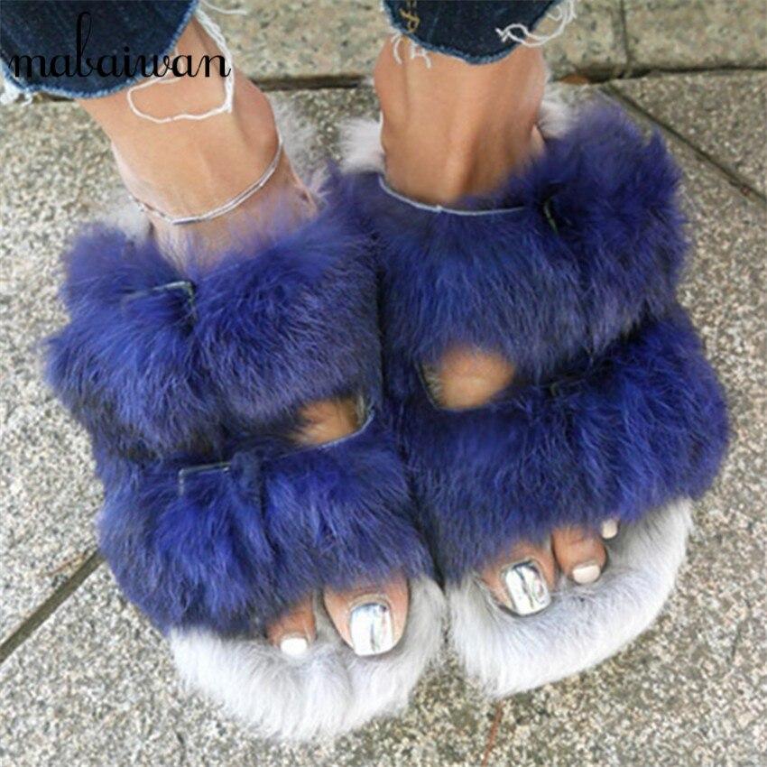 Blue Rabbit Fur Women Fur Slippers Fashion Warm Gladiator Sandals Ladies Summer Flats Casual Platform Shoes Woman Slides women sandals 2017 summer shoes woman wedges fashion gladiator platform female slides ladies casual shoes flat comfortable