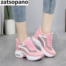 New 2019 Women Platform Wedge Sneakers Breathable Mesh 8CM High Heel Autumn Casual Shoes Height Increasing Woman Outdoor Shoes