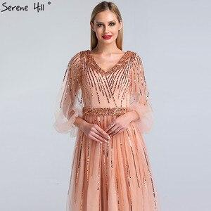 Image 4 - Dubai Design di Colore Rosa Con Scollo A V 2020 Abiti Da Sera Con Paillettes Maniche Lunghe di Lusso del Vestito Convenzionale Serena Hill LA60948